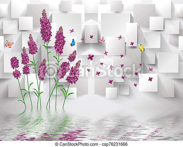 3d illustration, gray background, purple lavender flowers, rectangles, flying colorful butterflies, reflected in the water - csp76231666