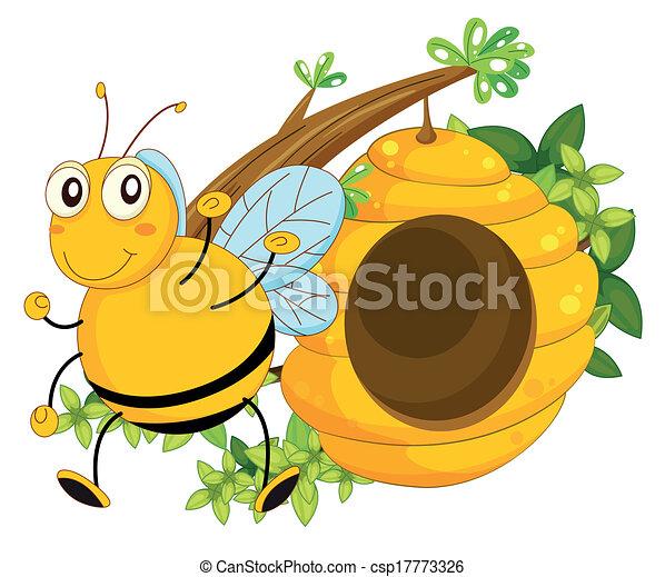 A big bee near the beehive - csp17773326