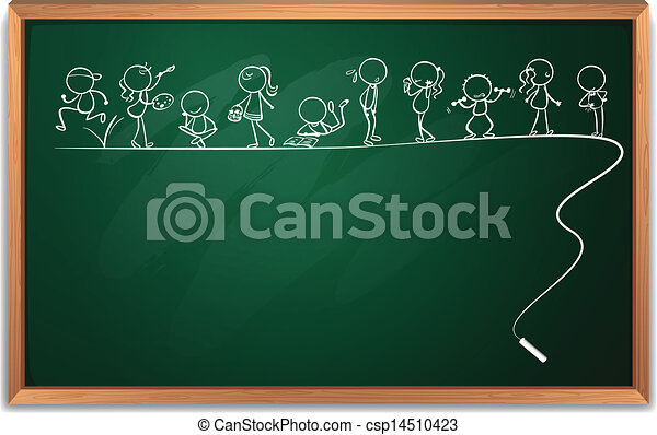 A blackboard with a doodle art - csp14510423