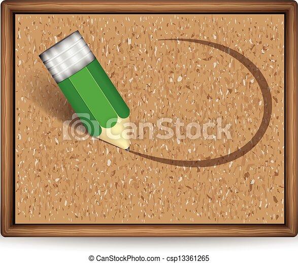 A cork board with pencil - csp13361265