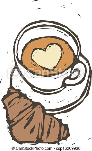 A cup of coffee with bread - csp16209938