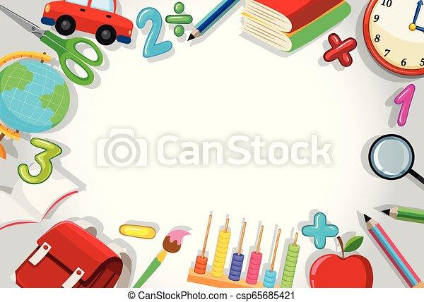 A school stationery border - csp65685421