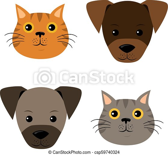 A vector set of dog, cat faces in flat style. - csp59740324