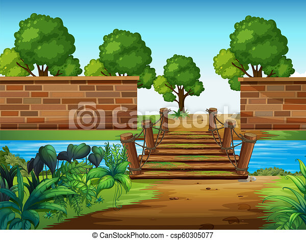 A wooden bridge in the park - csp60305077