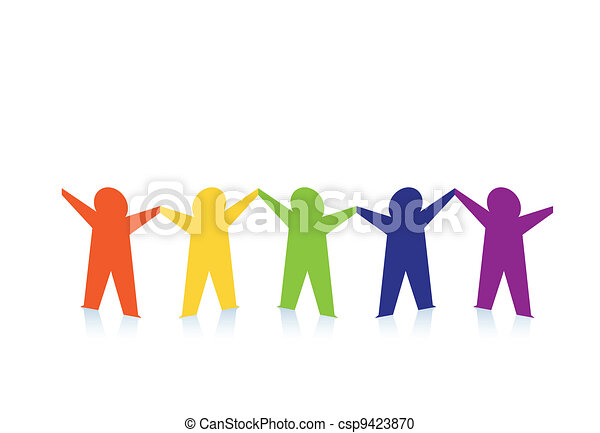 Abstract colorful paper people isolated on white - csp9423870