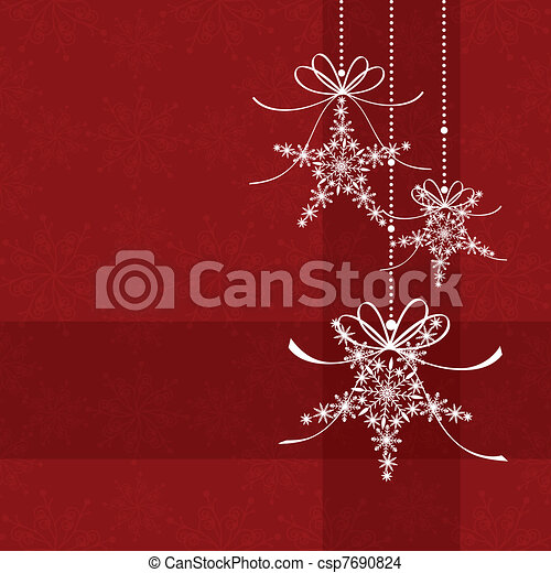 Abstract elegance red christmas snowflake seamless pattern - csp7690824