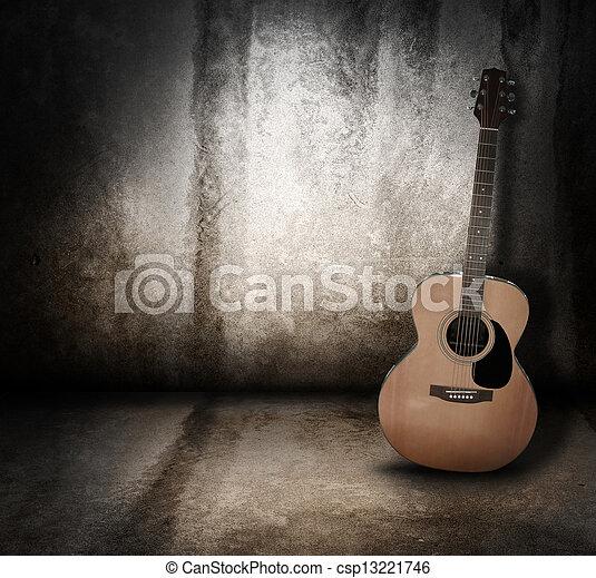 Acoustic Music Guitar Grunge Background - csp13221746