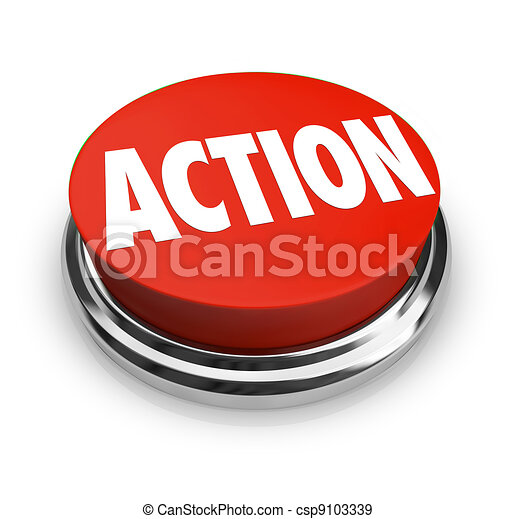 Action Word on Red Round Button Be Proactive - csp9103339