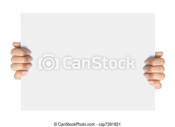 Advertising. hand hold on a paper - csp7391821