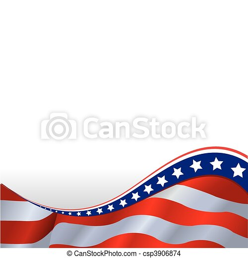 American flag horizontal background - csp3906874