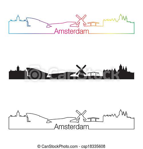 Amsterdam skyline linear style with rainbow - csp18335608
