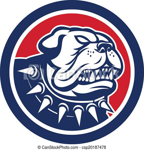 Angry Bulldog Dog Mongrel Head Mascot - csp20187478