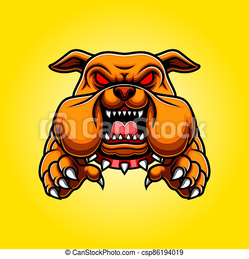 Angry Bulldog Mascot Body with Paws and Claws - csp86194019