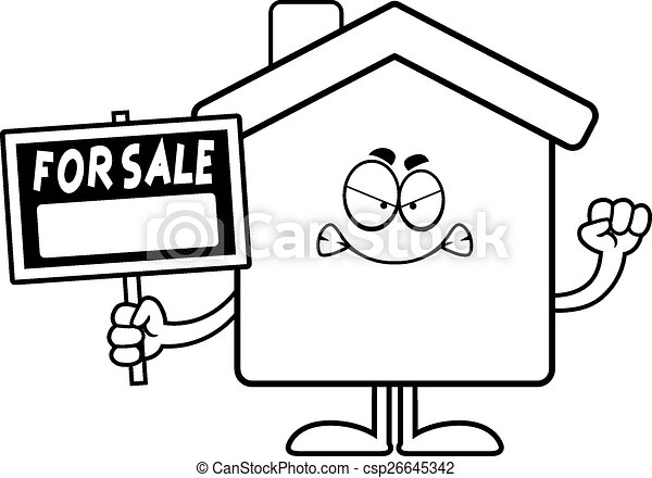 Angry Cartoon Home Sale - csp26645342