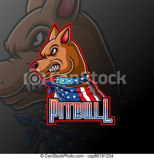 Angry pitbull wearing a scarf mascot logo - csp86191234