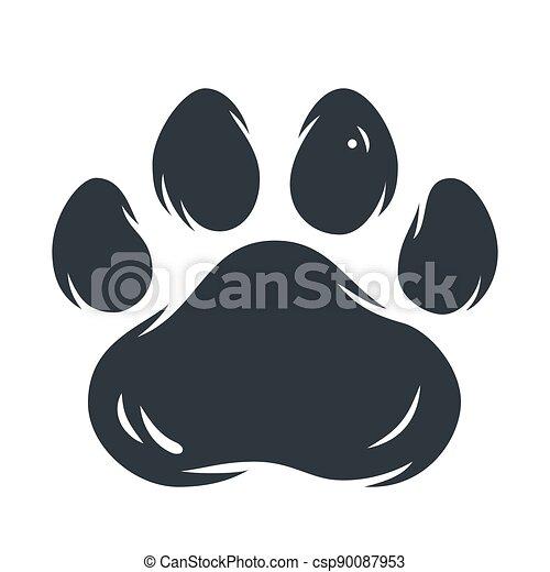 Animal pet cat or tiger paw footprint - csp90087953
