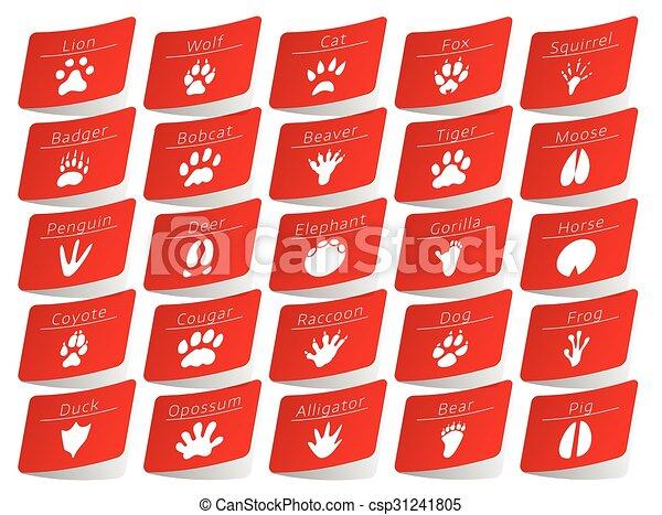 Animal track stickers set - csp31241805