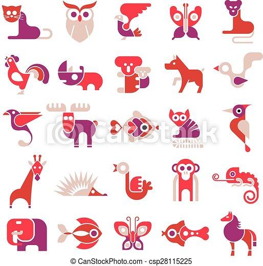 Animal vector flat icons - csp28115225