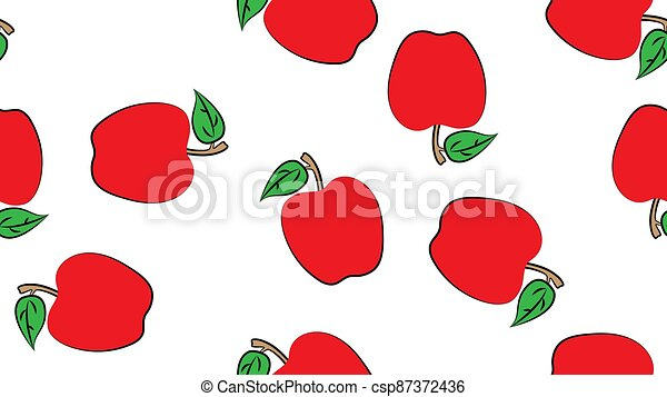 apple seamless pattern vector fruit isolated cartoon wallpaper repeat background - csp87372436