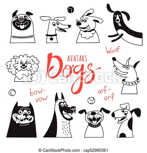 Avatar dogs. Funny lap-dog, happy pug, cheerful mongrels and other breeds. - csp52990361