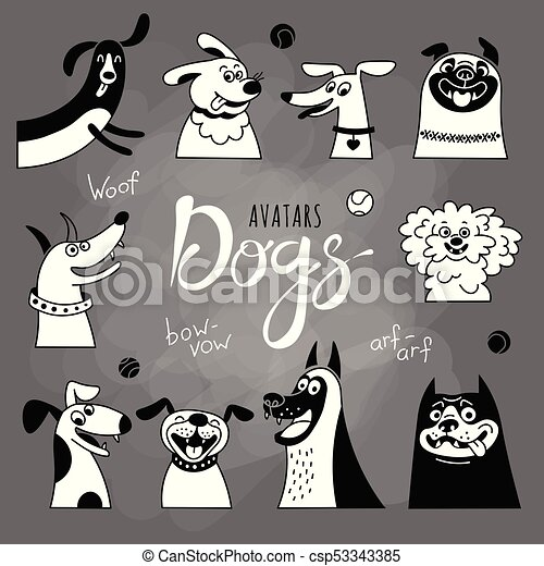 Avatar dogs. Funny lap-dog, happy pug, cheerful mongrels and other breeds. - csp53343385