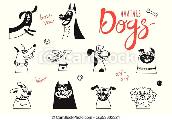 Avatar dogs. Funny lap-dog, happy pug, cheerful mongrels and other breeds. - csp53602324
