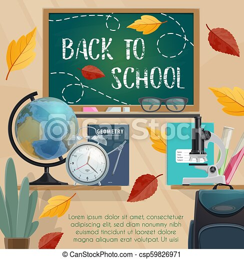 Back to school blackboard and stationery poster - csp59826971