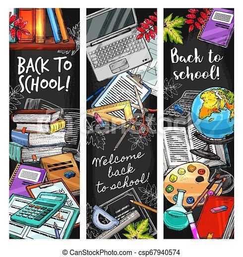 Back to School education stationery on blackboard - csp67940574