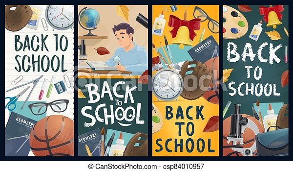 Back to school education vector banners - csp84010957