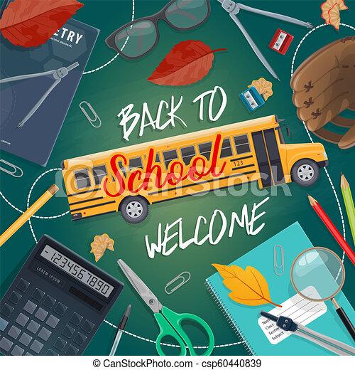 Back to School study stationery on blackboard - csp60440839
