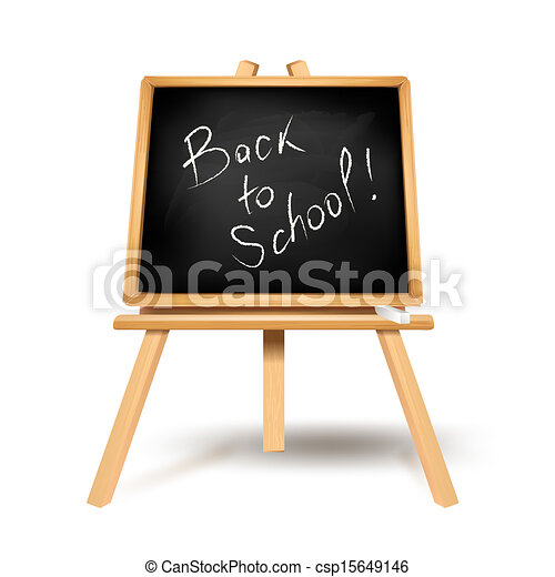 Back to school text on blackboard - csp15649146