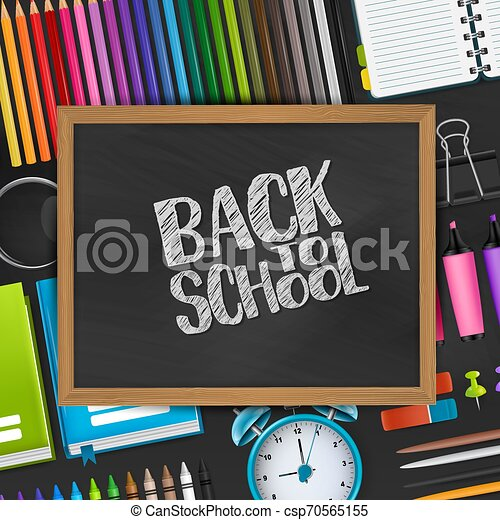 Back to school text on blackboard with wooden frame on a background with 3d realistic supplies for education. Vector illustration. - csp70565155