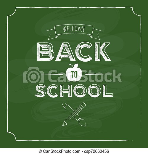 Back to school with blackboard background for poster template - csp72660456