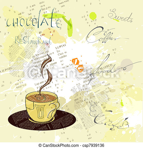 Background with a cup of coffee - csp7939136