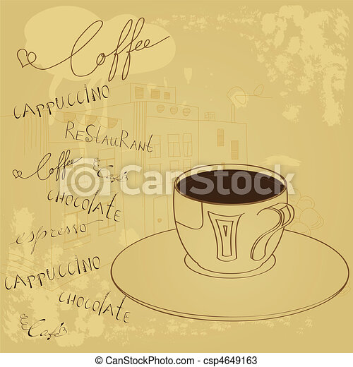 Background with a cup of coffee - csp4649163