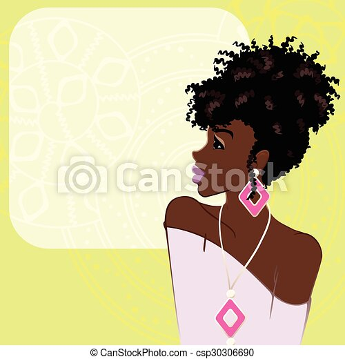 Background with dark-skinned woman - csp30306690