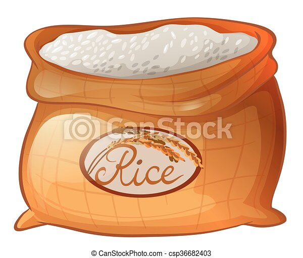 Bag of rice on white background - csp36682403