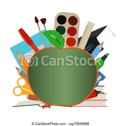 Banner template, sale advertisement, graduation day. Postcard with school supplies and school board in form of apple. Place for text. Back to school. Flat cartoon icons. Vector illustration - csp79558988