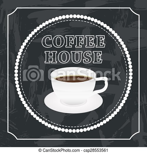 banner with a cup of coffee - csp28553561