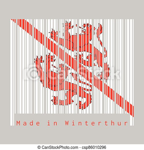 Barcode set the color of Winterthur flag, The canton of Switzerland with text Made in Winterthur. - csp86010296