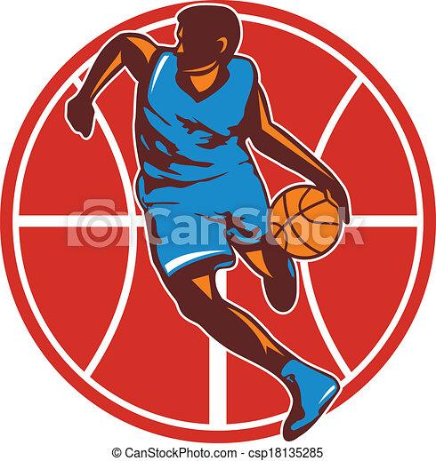 Basketball Player Dribble Ball Front Retro - csp18135285
