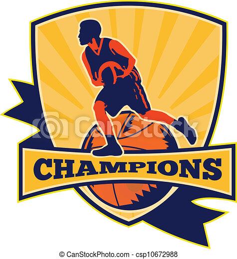 Basketball Player Dribbling Ball Retro - csp10672988