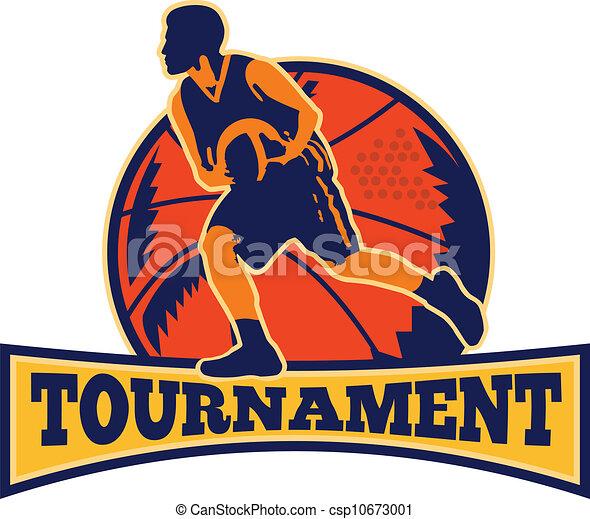 Basketball Player Dribbling Ball Retro - csp10673001