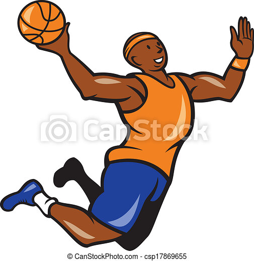 Basketball Player Dunking Ball Cartoon - csp17869655