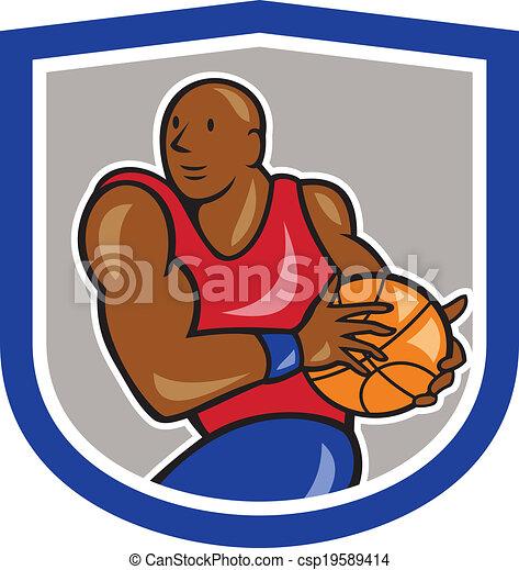 Basketball Player Holding Ball Shield Cartoon - csp19589414