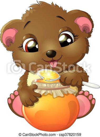 Bear eats honey - csp37820159