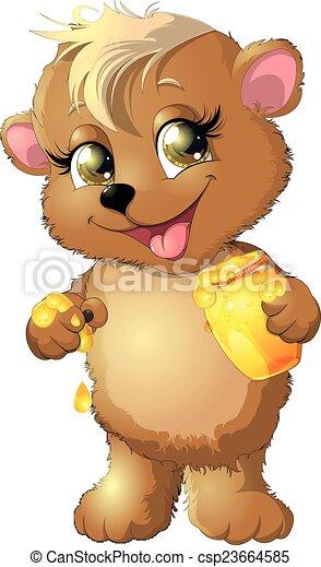 bear eats honey - csp23664585
