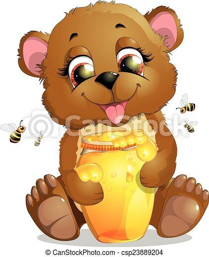 bear eats honey - csp23889204