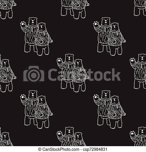 Bear Seamless Pattern polar bear vector hello isolated repeat wallpaper tile background illustration cartoon - csp72984831