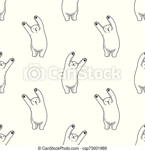 Bear vector Seamless Pattern polar bear isolated repeat wallpaper tile background illustration - csp73001989